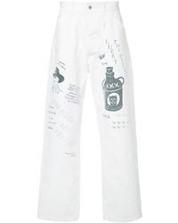 Белые джинсы с принтом