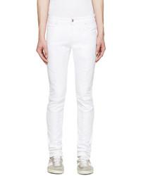 Мужские белые зауженные джинсы от Pierre Balmain