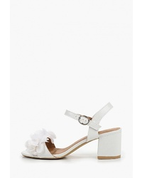 Белые кожаные босоножки на каблуке от Catisa