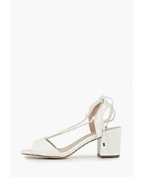 Белые кожаные босоножки на каблуке от Dorothy Perkins