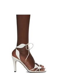Белые кожаные босоножки на каблуке от Gucci