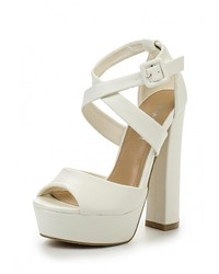 Женские белые кожаные босоножки на каблуке от Malien