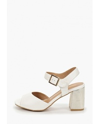 Белые кожаные босоножки на каблуке от Rio Fiore