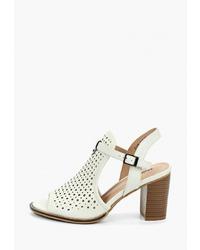 Белые кожаные босоножки на каблуке от Zenden