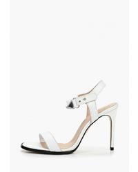 Белые кожаные босоножки на каблуке от Zign