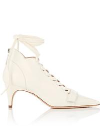 Женские белые кожаные ботильоны на шнуровке от Derek Lam