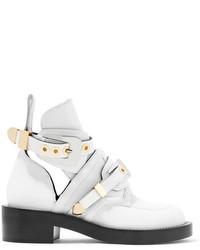Белые кожаные ботильоны с вырезом от Balenciaga