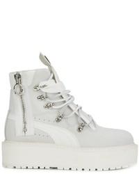 Мужские белые кожаные ботинки от Puma