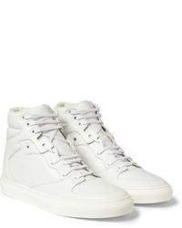 Белые кожаные высокие кеды