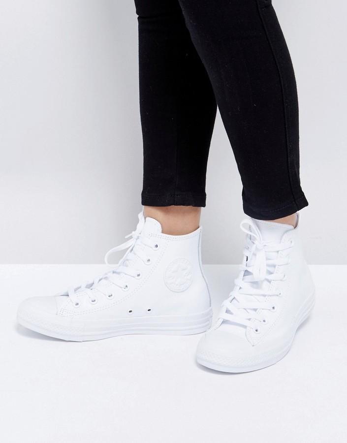 ... Женские белые кожаные высокие кеды от Converse ... fff1cdde5550e