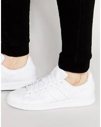 Мужские белые кожаные кеды от adidas