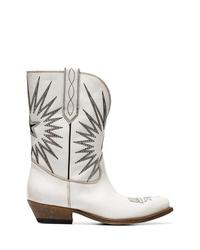 Женские белые кожаные ковбойские сапоги с вышивкой от Golden Goose Deluxe Brand