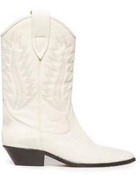 Белые кожаные ковбойские сапоги