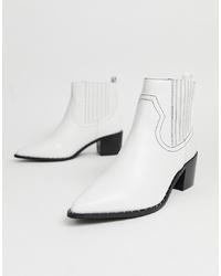 Женские белые кожаные ковбойские сапоги от Miss Selfridge