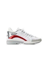 Мужские белые кожаные кроссовки от DSQUARED2