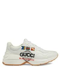 Мужские белые кожаные кроссовки от Gucci