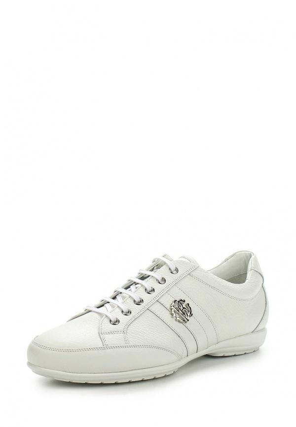 Мужские белые кожаные кроссовки от Roberto Cavalli