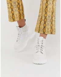 Женские белые кожаные массивные ботинки на шнуровке от Dr. Martens