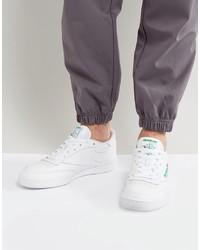 Мужские белые кожаные низкие кеды от Reebok
