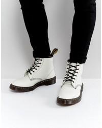 Белые кожаные рабочие ботинки