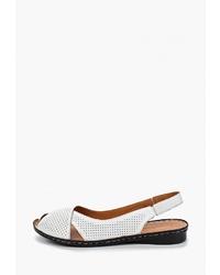 Белые кожаные сандалии на плоской подошве от Alessio Nesca