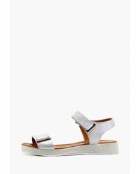 Белые кожаные сандалии на плоской подошве от Ed'art