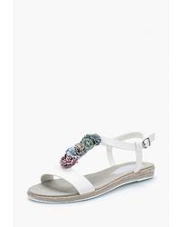 Белые кожаные сандалии на плоской подошве от Instreet