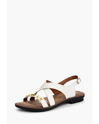 Белые кожаные сандалии на плоской подошве от Kynuria
