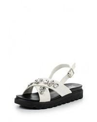 Белые кожаные сандалии на плоской подошве от Max Shoes