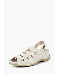 Белые кожаные сандалии на плоской подошве от SHOIBERG