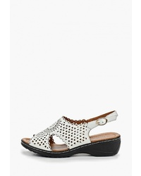 Белые кожаные сандалии на плоской подошве от T.Taccardi