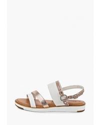 Белые кожаные сандалии на плоской подошве от Tamaris