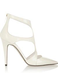 Белые кожаные туфли с вырезом
