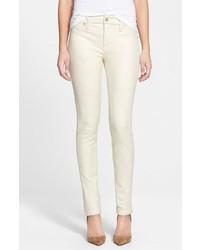 Белые кожаные узкие брюки