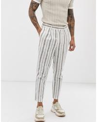 Мужские белые льняные классические брюки в вертикальную полоску от ASOS DESIGN