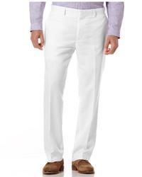 Белые льняные классические брюки