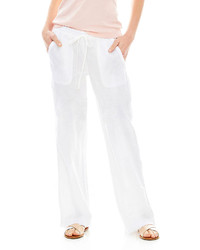 Белые льняные широкие брюки