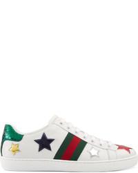 Женские белые низкие кеды со звездами от Gucci