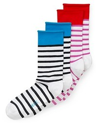 Белые носки в горизонтальную полоску