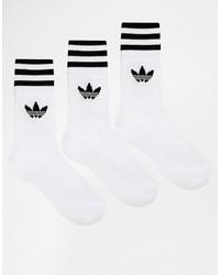 Женские белые носки в горизонтальную полоску от adidas