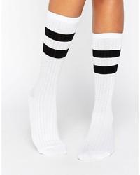 Женские белые носки в горизонтальную полоску от Asos