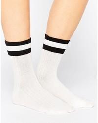 Женские белые носки в горизонтальную полоску от Monki