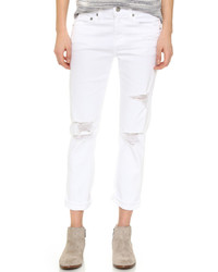 Белые рваные джинсы-бойфренды от AG Jeans