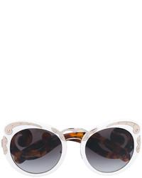 Женские белые солнцезащитные очки от Prada