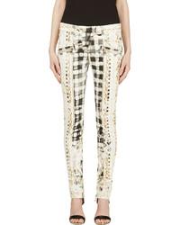 Белые узкие брюки с принтом