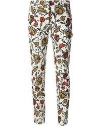 Белые узкие брюки с цветочным принтом