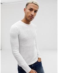 Мужской белый вязаный свитер от ASOS DESIGN