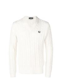 Мужской белый вязаный свитер от Fred Perry