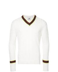 Мужской белый вязаный свитер от Kent & Curwen