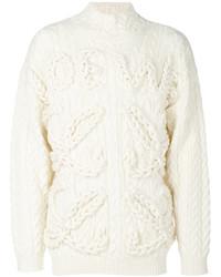 Мужской белый вязаный свитер от Loewe
